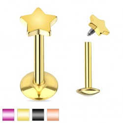Titanium Plated over Surgical Steel Internally Threaded Star Tragus / Labret / Cartilage / Helix / Conch / Stud
