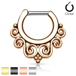 Surgical Steel Tribal Swirl Septum Clicker