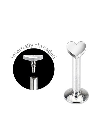Surgical Steel Internally Threaded Heart Tragus / Labret / Cartilage / Helix / Conch / Stud