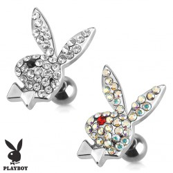 Surgical Steel Genuine Playboy Bunny Rabbit with CZ Gems Tragus / Cartilage / Helix / Conch / Stud