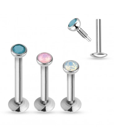 Surgical Steel Internally Threaded Opal Tragus / Labret / Cartilage / Helix / Conch / Stud
