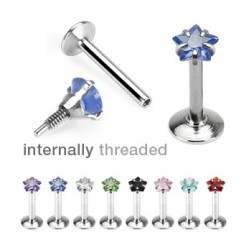 Surgical Steel Internally Threaded Star Gem Tragus / Labret / Cartilage / Helix / Conch / Stud