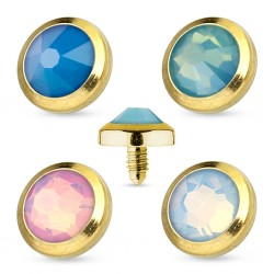 4 Pack of 4mm Gold Plated Opal Gem Dermal Anchor Heads