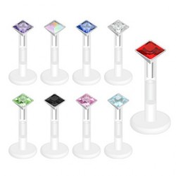Bioflex Square CZ Gem Push Fit Tragus / Labret / Cartilage Bar