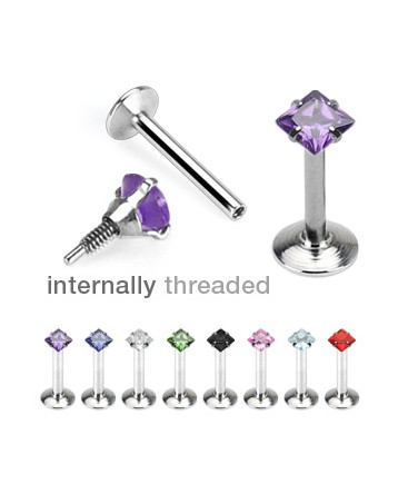 Surgical Steel Internally Threaded Square Gem Tragus / Labret / Cartilage / Helix / Conch / Stud