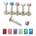 Surgical Steel Internally Threaded Opal Stone Tragus / Labret / Cartilage / Helix / Conch / Stud