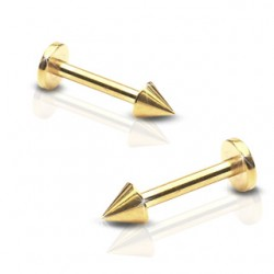 Gold Plated Tragus / Labret / Cartilage / Helix / Conch / Stud with Spike / Cone