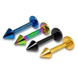 Anodised Titanium Tragus / Labret / Cartilage / Helix / Conch / Stud with Spike / Cone