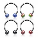 Surgical Steel Horseshoe Barbell with with Striped Balls