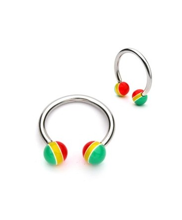 Surgical Steel Horseshoe Barbell with Acrylic Jamacian Rasta Balls