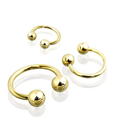 Gold Plated Horseshoe Barbell with Balls