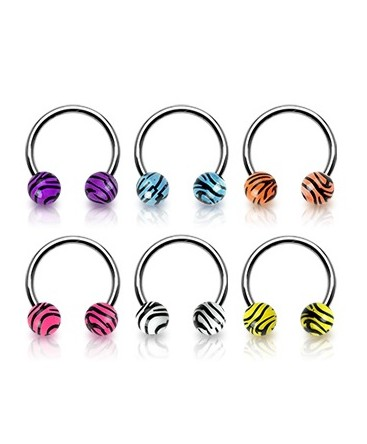 Surgical Steel Horseshoe Barbell with Stripe Tiger Zebra Balls