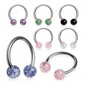 Surgical Steel Horseshoe Barbell with Acrylic Glitter Balls