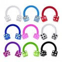 Flexi Acrylic Coloured Dice Horseshoe Barbell