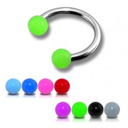 Surgical Steel Horseshoe Barbell with Coloured Acrylic Balls