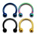 Anodised Titanium Horseshoe Barbell with Balls
