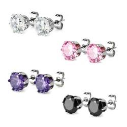 Surgical Steel Crystal CZ Gem Earrings / Studs