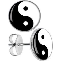 Surgical Steel Yin Yang Logo Disc Stud Earrings