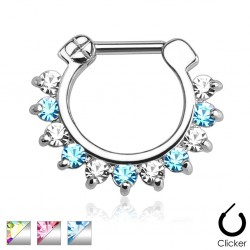 Surgical Steel Single Line Pronged Gem Septum Clicker