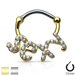 Surgical Steel Sexy Clear Gem Septum Clicker