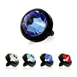 Black Anodised Titanium Gem Set Dermal Anchor Head