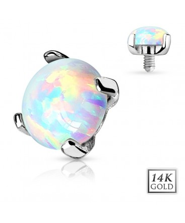 14ct White Gold Opal Stone Dermal Anchor Head