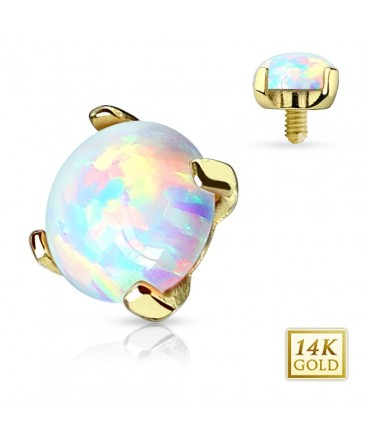 14ct Yellow Gold Opal Stone Dermal Anchor Head