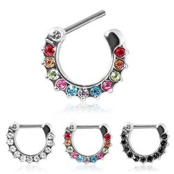 Surgical Steel Multi Gem Webbed Septum Clicker