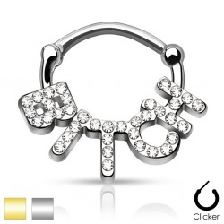 Surgical Steel CZ Bitch Septum Clicker