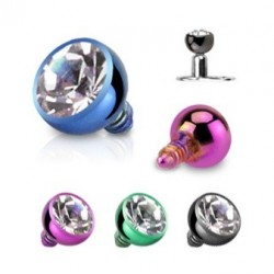 Anodised Titanium Ball With Clear Gem Dermal Anchor Head