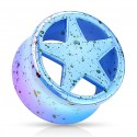 Acrylic Splatter Star Design Ear Tunnel