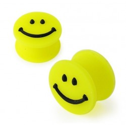 Silicone Smiley Face Yellow Ear Tunnel