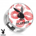 Surgical Steel Red Lips Kiss Genuine Playboy Ear Tunnel