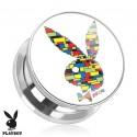 Surgical Steel Genuine Playboy Rabbit Block Print Ear Tunnel