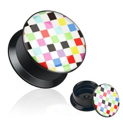 Acrylic Multi Colour Chessboard / Chequered Ear Tunnel