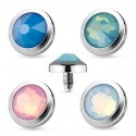 Surgical Steel Opal Dome Shape Dermal Anchor Head