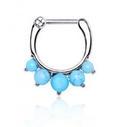 Surgical Steel Semi-Precious Turquoise Stone Septum Clicker