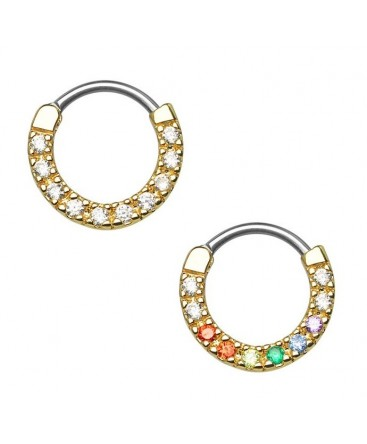 Gold Plated Single Line CZ Gem Round Septum Clicker