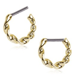 Gold Plated Over Surgical Steel Twisted Septum Clicker