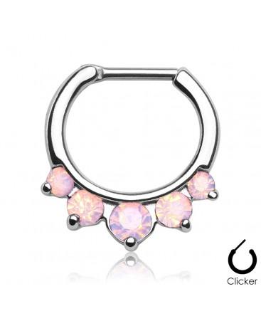Surgical Steel Opal Gem Droplet Septum Clicker