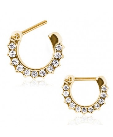 Gold Plated Over Surgical Steel Clear CZ Gem Septum Clicker