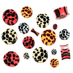 Acrylic Leopard Cheetah Pattern Ear Tunnel