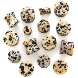 Natural Spotted Dalmatian Jasper Stone Ear Tunnel