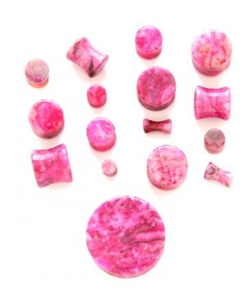 Fuchsia Pink Agate Natural Organic Stone Ear Tunnel