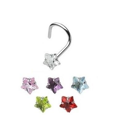Surgical Steel Coloured Star Gem Nose Hook / Pin