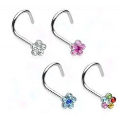 Surgical Steel Multi Gem Flower Nose Hook