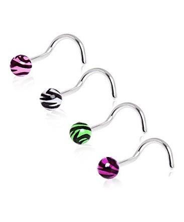 Surgical Steel Zebra Tiger Stripe Ball Nose Hook / Stud