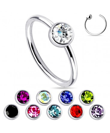 Surgical Steel Nose Hoop / Ring with 3mm Colour Gem