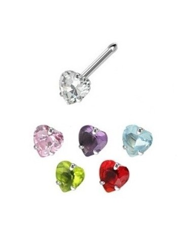 Surgical Steel Coloured Heart Gem Nose Pin