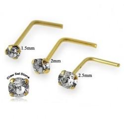 9ct Gold 'L' Shape Claw Set CZ Gem Nose Stud / Hook